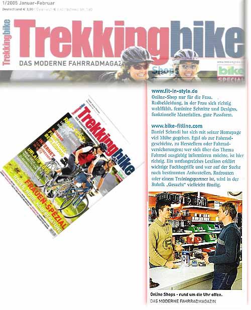 bike-fitline in der Zeitschrift Trekkingbike auf Seite 55 der Ausgabe 1/2005 Januar - Februar